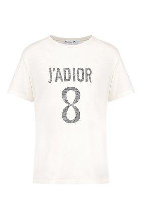 Женская футболка из хлопка и льна DIOR белого цвета, арт. 843T03TC428X0200 | Фото 1 (Материал внешний: Хлопок; Женское Кросс-КТ: Футболка-одежда; Стили: Кэжуэл; Рукава: Короткие)