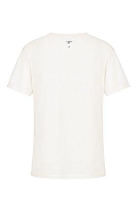 Женская футболка из хлопка и льна DIOR белого цвета, арт. 843T03TC428X0200 | Фото 2 (Материал внешний: Хлопок; Женское Кросс-КТ: Футболка-одежда; Стили: Кэжуэл; Рукава: Короткие)