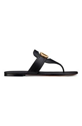 Женские кожаные шлепанцы 30 montaigne DIOR черного цвета, арт. KCQ386VEAS900 | Фото 1