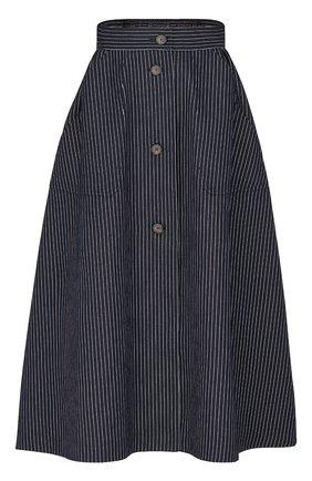 Женская юбка из хлопка и шелка DIOR синего цвета, арт. 041J44A3731X5879 | Фото 1