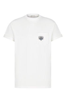 Мужская хлопковая футболка DIOR белого цвета, арт. 033J644A0554C085 | Фото 1