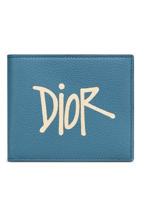 Мужской кожаное портмоне DIOR голубого цвета, арт. 2PUBH027YZSH00E | Фото 1