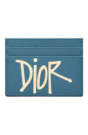 Мужской кожаный футляр для кредитных карт DIOR голубого цвета, арт. 2PUCH001YZSH00E | Фото 1
