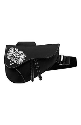 Мужская кожаная сумка saddle DIOR черного цвета, арт. 1ADPO093RASH29E   Фото 1