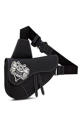 Мужская кожаная сумка saddle DIOR черного цвета, арт. 1ADPO093RASH29E   Фото 2