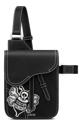 Мужская кожаная сумка saddle DIOR черного цвета, арт. 1ADPO171RASH29E   Фото 1