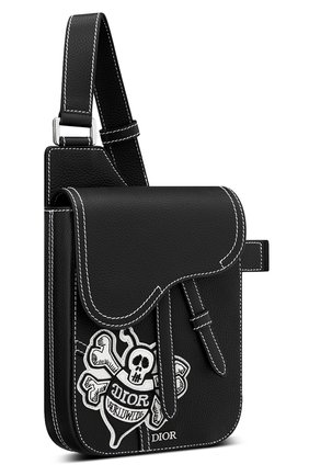 Мужская кожаная сумка saddle DIOR черного цвета, арт. 1ADPO171RASH29E   Фото 2