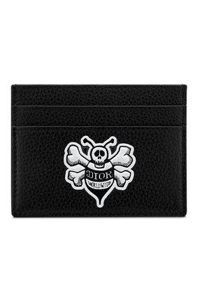 Мужской кожаный футляр для кредитных карт DIOR черного цвета, арт. 2PUCH001PASH29E | Фото 1