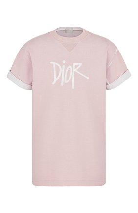 Мужская хлопковая футболка DIOR розового цвета, арт. 033J625E0554C400 | Фото 1