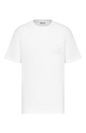 Мужская хлопковая футболка DIOR белого цвета, арт. 033J625I0554C080 | Фото 1