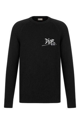 Мужской кашемировый джемпер DIOR черного цвета, арт. 033M609AT070C980 | Фото 1