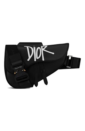 Мужская кожаная сумка saddle DIOR черного цвета, арт. 1ADPO093YZSH10E   Фото 1