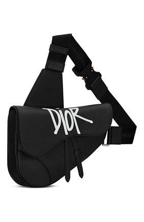 Мужская кожаная сумка saddle DIOR черного цвета, арт. 1ADPO093YZSH10E   Фото 2