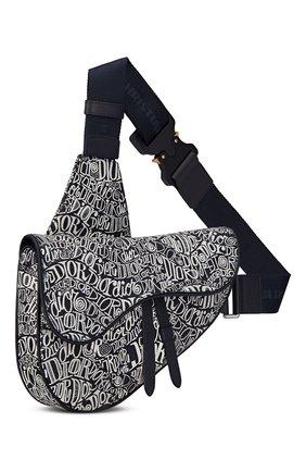 Мужская кожаная сумка saddle DIOR темно-синего цвета, арт. 1ADPO093ZADH04E   Фото 2