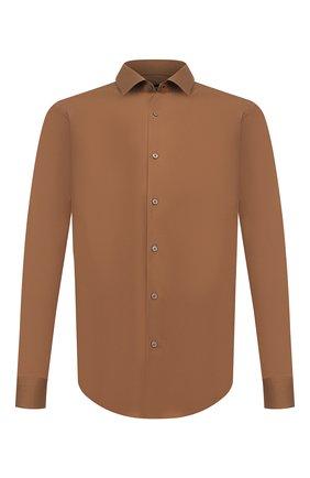 Мужская хлопковая сорочка BOSS коричневого цвета, арт. 50440257 | Фото 1