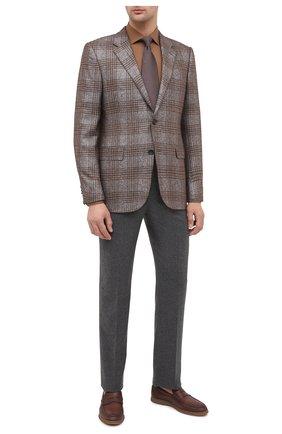 Мужская хлопковая сорочка BOSS коричневого цвета, арт. 50440257 | Фото 2