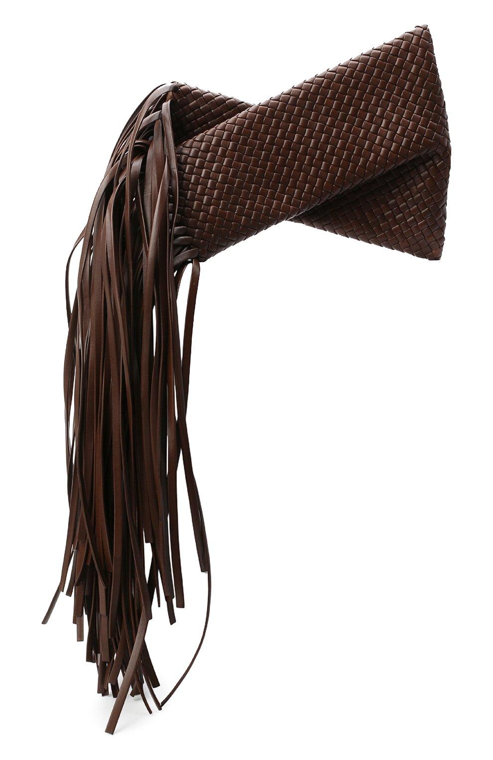 Женский клатч bv fringe crisscross BOTTEGA VENETA коричневого цвета, арт. 642104/V01D1   Фото 1