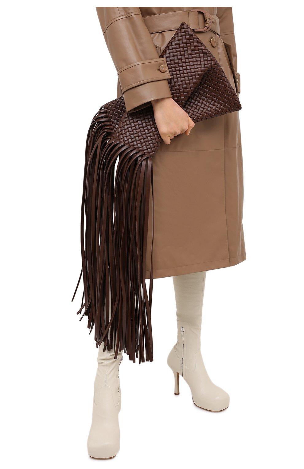 Женский клатч bv fringe crisscross BOTTEGA VENETA коричневого цвета, арт. 642104/V01D1   Фото 2