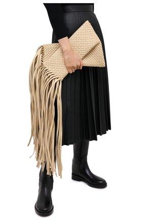Женский клатч bv fringe crisscross BOTTEGA VENETA светло-бежевого цвета, арт. 642104/V01D1   Фото 2