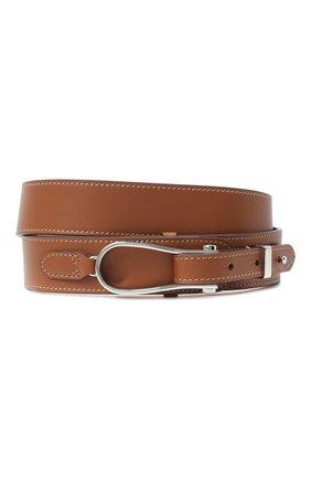 Женский кожаный ремень RALPH LAUREN коричневого цвета, арт. 408814905 | Фото 1 (Материал: Кожа)