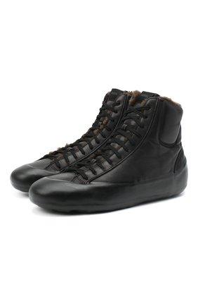 Мужские кожаные кеды RBRSL черного цвета, арт. 7Y2024U.T50C6NB001 | Фото 1