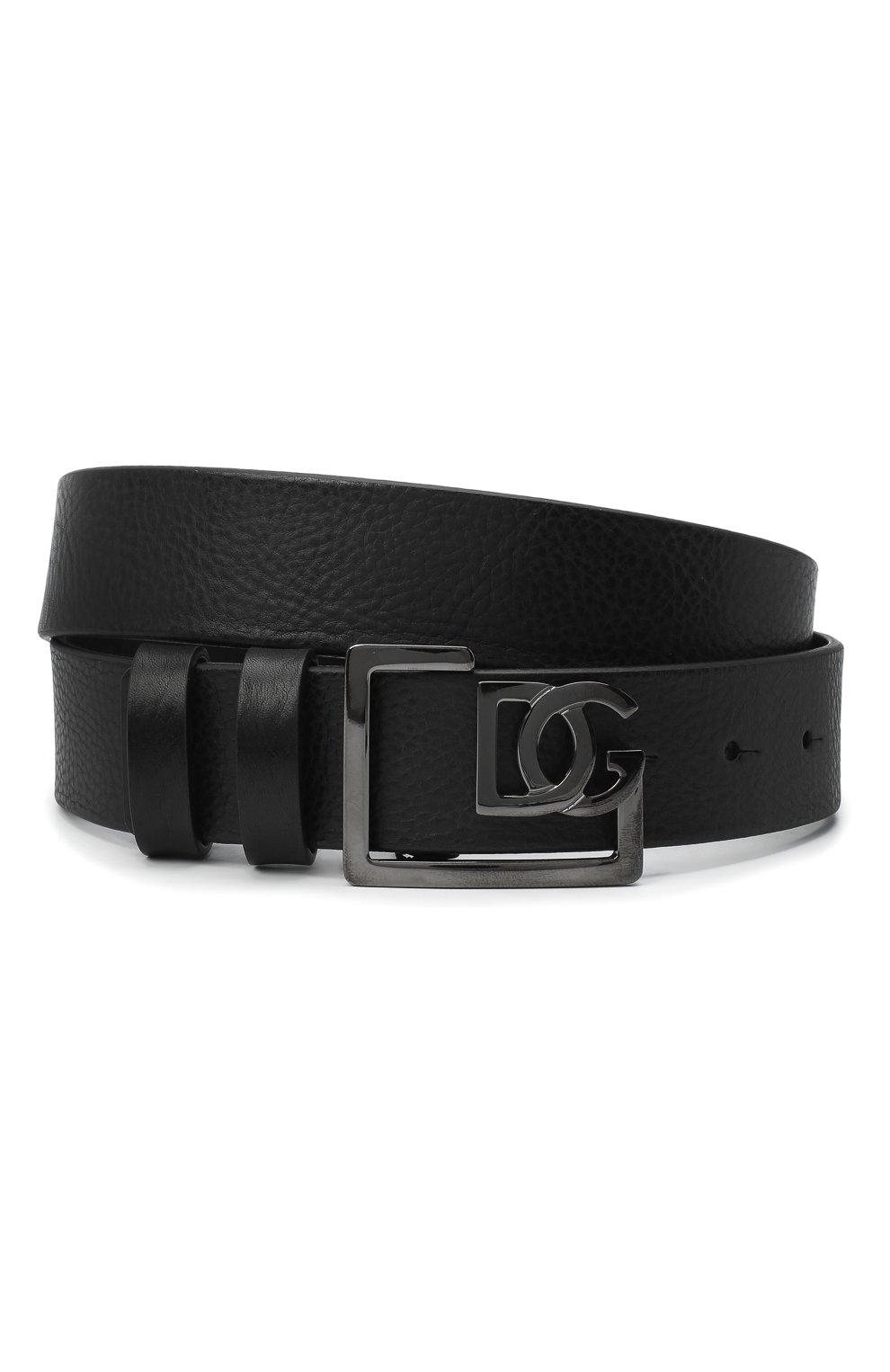 Мужской кожаный ремень DOLCE & GABBANA черного цвета, арт. BC4476/AV480 | Фото 1