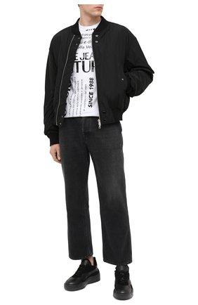 Мужская хлопковая футболка VERSACE JEANS COUTURE черно-белого цвета, арт. B3GZA7TL-ZUP600 S LIM GARANZIA MIX/30319 | Фото 2