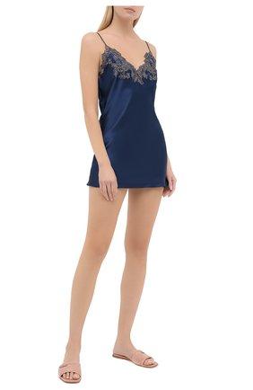 Женская шелковая сорочка LA PERLA темно-синего цвета, арт. 0019227/0261 | Фото 2