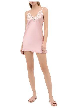 Женская шелковая сорочка LA PERLA розового цвета, арт. 0019227/W044 | Фото 2