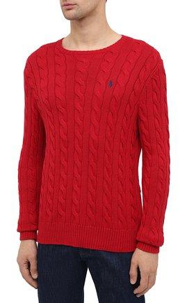 Мужской хлопковый джемпер POLO RALPH LAUREN красного цвета, арт. 710775885 | Фото 3