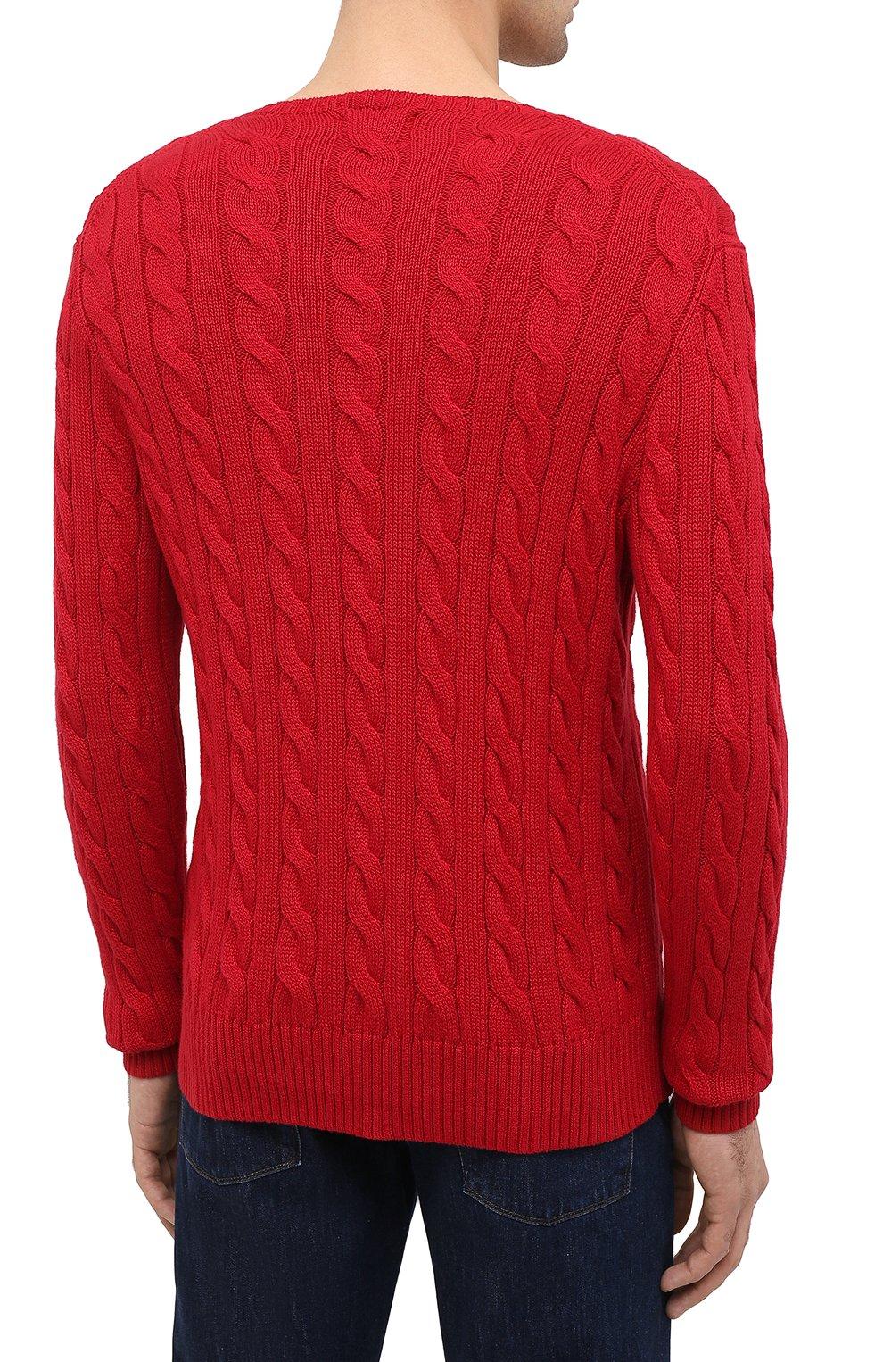 Мужской хлопковый джемпер POLO RALPH LAUREN красного цвета, арт. 710775885 | Фото 4