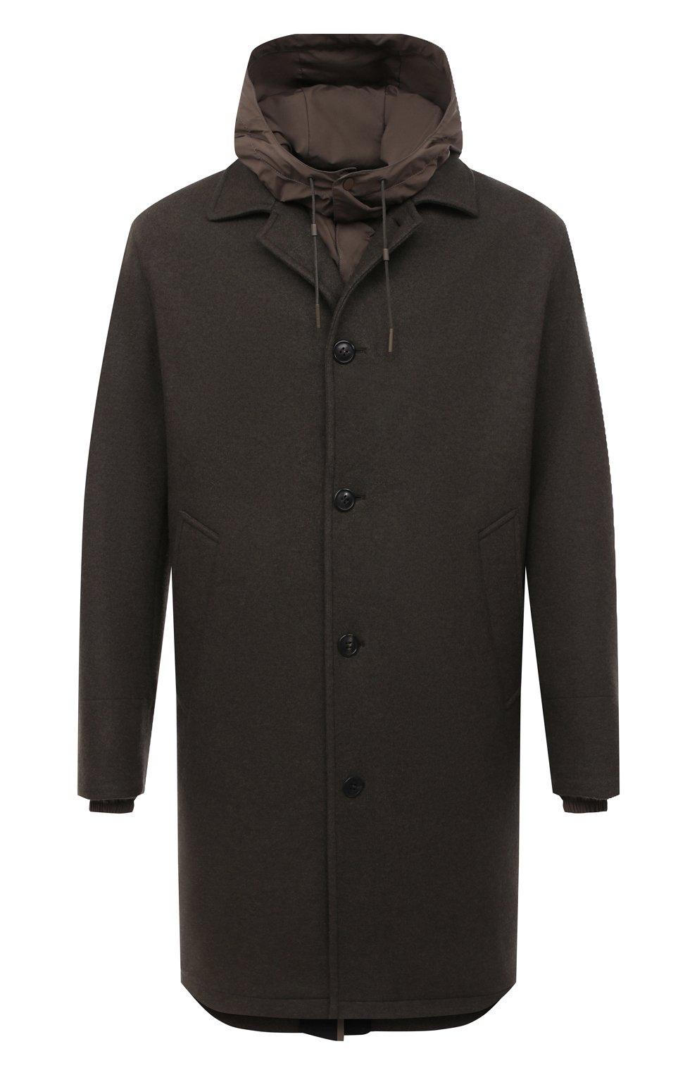 Мужской пальто из шерсти и кашемира ERMENEGILDO ZEGNA хаки цвета, арт. UVT29/V304 | Фото 1