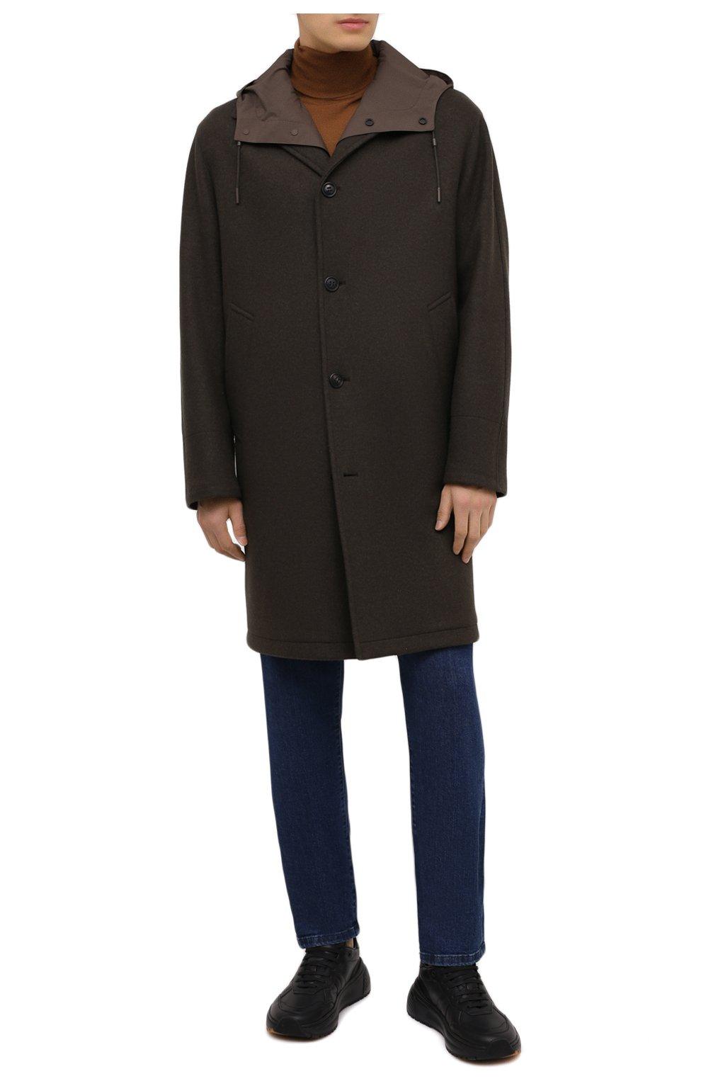 Мужской пальто из шерсти и кашемира ERMENEGILDO ZEGNA хаки цвета, арт. UVT29/V304 | Фото 2