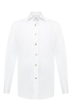 Мужская хлопковая сорочка KITON белого цвета, арт. UCIH0750301 | Фото 1