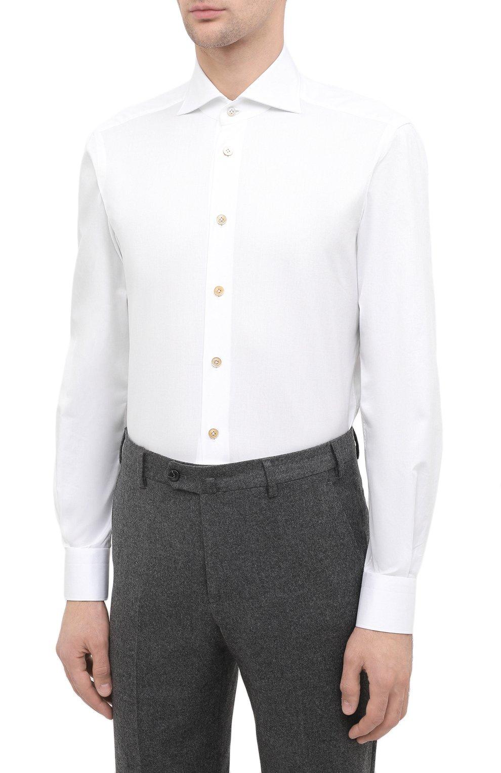 Мужская хлопковая сорочка KITON белого цвета, арт. UCIH0750301   Фото 3