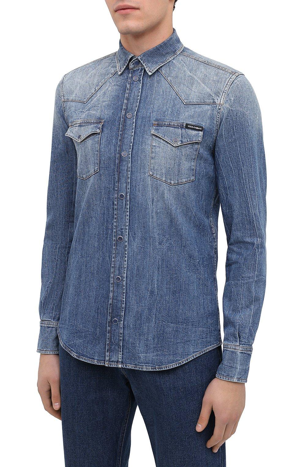 Мужская джинсовая рубашка DOLCE & GABBANA синего цвета, арт. G5EX7D/G8CS3 | Фото 3