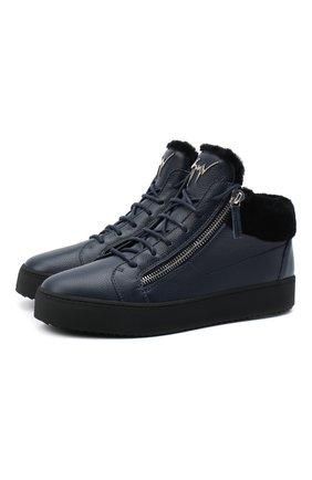 Мужские кожаные кеды kriss winter GIUSEPPE ZANOTTI DESIGN темно-синего цвета, арт. RU00019/003 | Фото 1