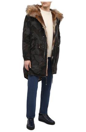 Мужские кожаные кеды kriss winter GIUSEPPE ZANOTTI DESIGN темно-синего цвета, арт. RU00019/003 | Фото 2
