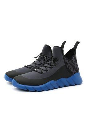 Мужские текстильные кроссовки FENDI синего цвета, арт. 7E1347 AC7H | Фото 1