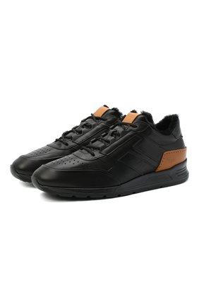 Мужские кожаные кроссовки TOD'S черного цвета, арт. XXM56B0AY310X8 | Фото 1