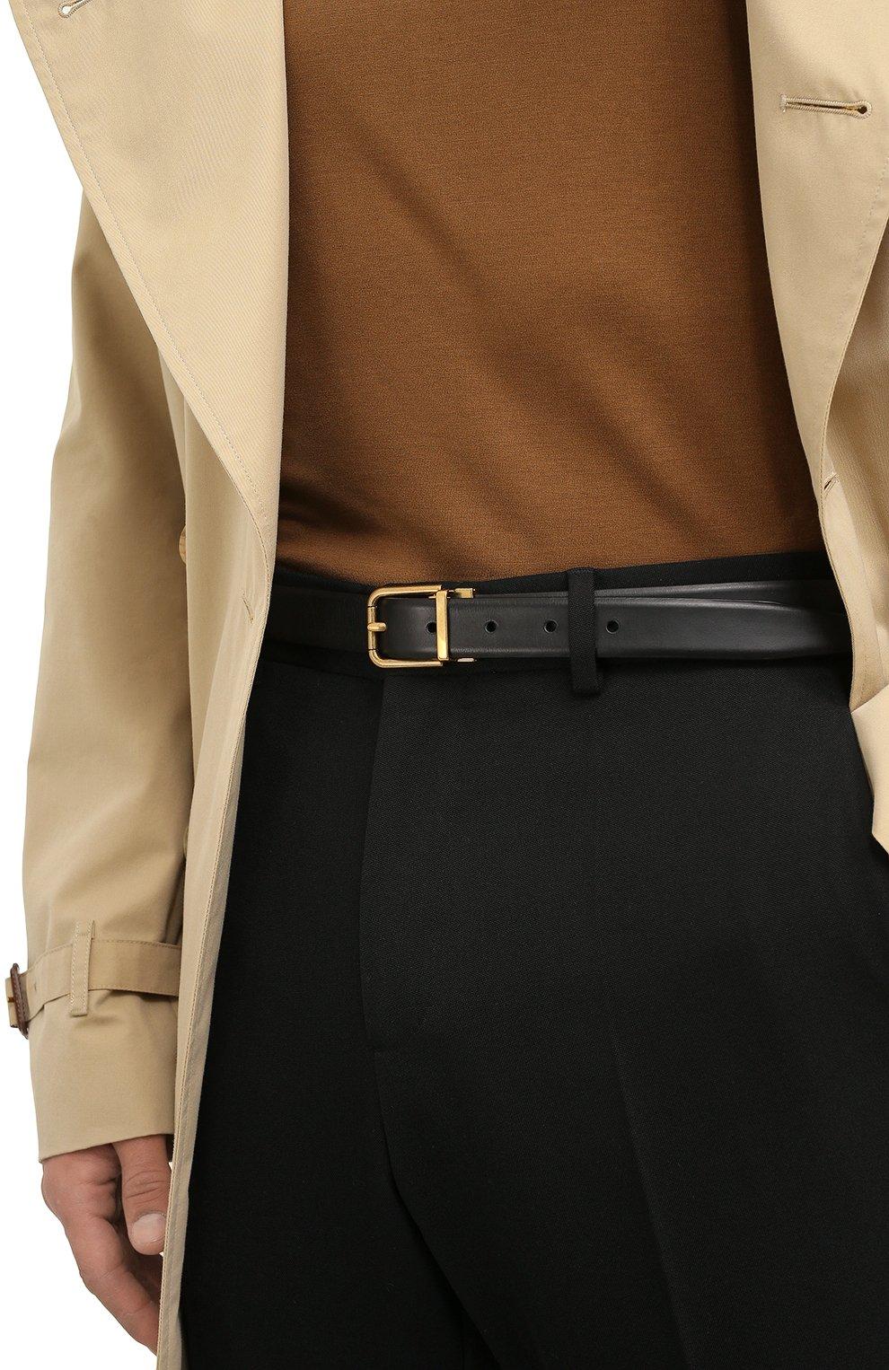 Мужской кожаный ремень DOLCE & GABBANA черного цвета, арт. BC4337/AW374 | Фото 2