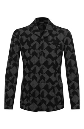 Мужской пиджак из кашемира и вискозы GIORGIO ARMANI черного цвета, арт. 6HSG56/SJWAZ   Фото 1