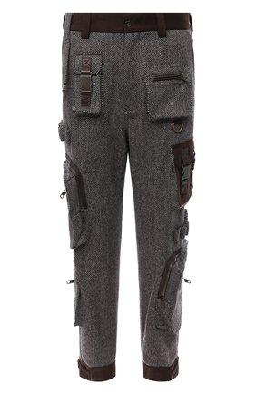 Мужские брюки из шерсти и хлопка DOLCE & GABBANA коричневого цвета, арт. GWAQHT/FC2BH | Фото 1