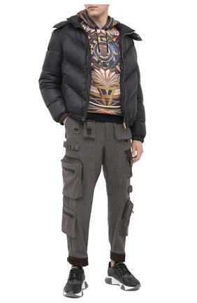 Мужские брюки из шерсти и хлопка DOLCE & GABBANA коричневого цвета, арт. GWAQHT/FC2BH | Фото 2