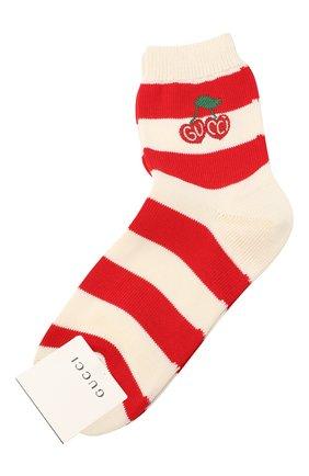 Женские хлопковые носки GUCCI красного цвета, арт. 631519/3GF80 | Фото 1