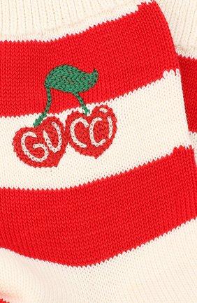 Женские хлопковые носки GUCCI красного цвета, арт. 631519/3GF80 | Фото 2