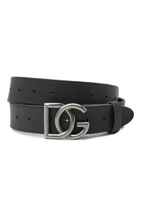 Мужской кожаный ремень DOLCE & GABBANA черного цвета, арт. BC4518/AW597 | Фото 1
