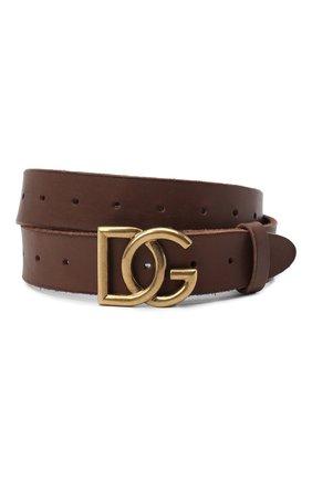 Мужской кожаный ремень DOLCE & GABBANA коричневого цвета, арт. BC4518/AW597 | Фото 1