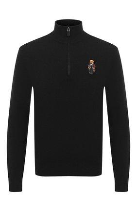 Мужской джемпер из шерсти и кашемира POLO RALPH LAUREN черного цвета, арт. 710810823 | Фото 1
