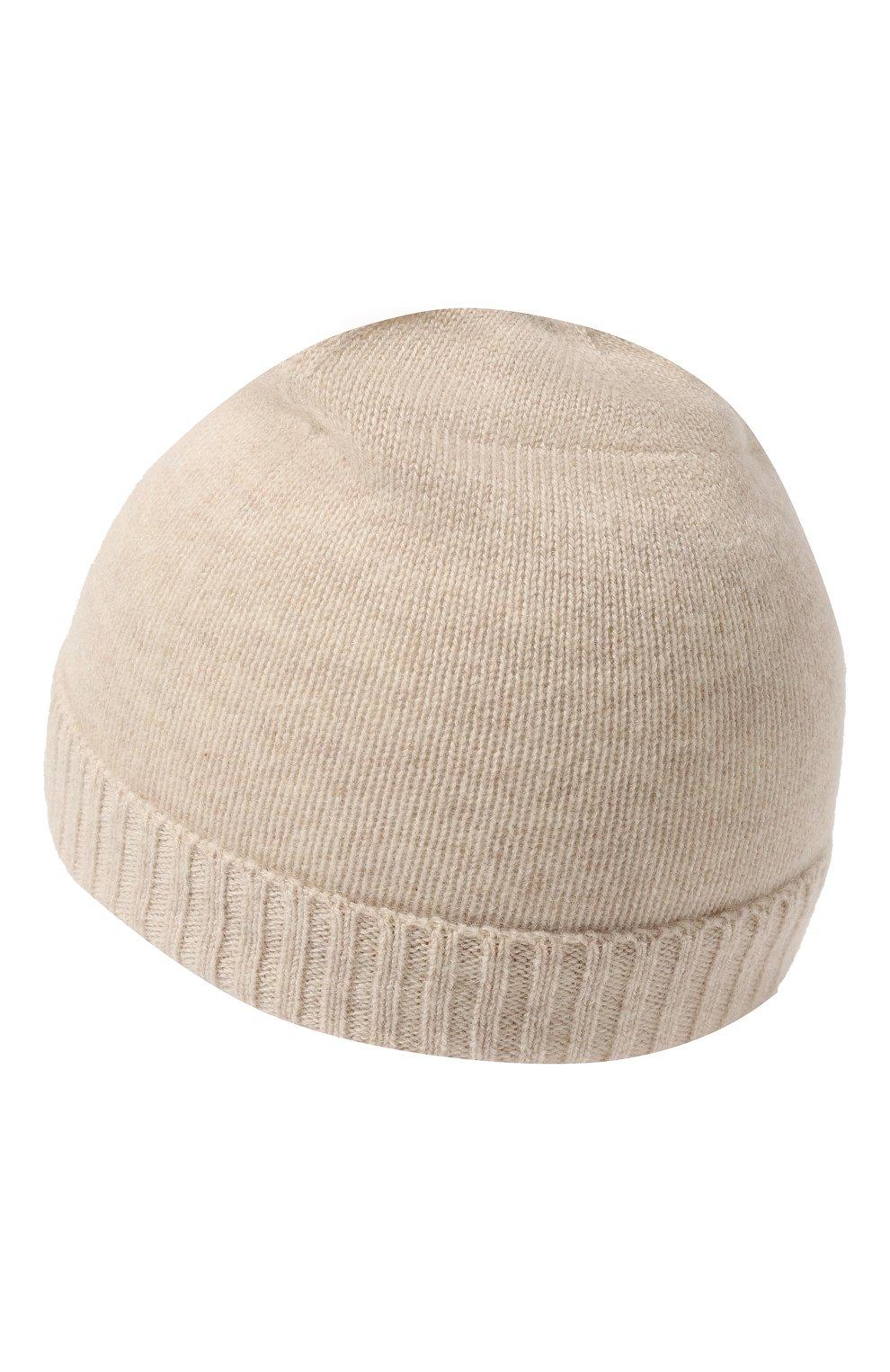 Детского кашемировая шапка OSCAR ET VALENTINE бежевого цвета, арт. BON02   Фото 2 (Материал: Кашемир, Шерсть)